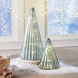 Whispering Blue Mercury Glass LED Trees