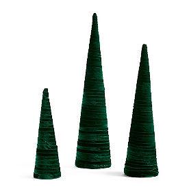 Green Velvet Trees, Set of Three
