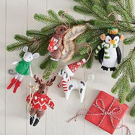 Winter Friends Felt Ornaments, Set of Five