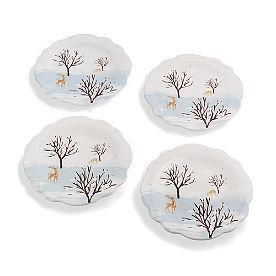 Winter Field Dessert Plates, Set of Four