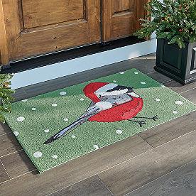 Christmas Chickadee Hooked Door Mat