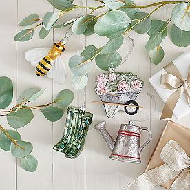 Glass Gardening Ornaments, Set of Four