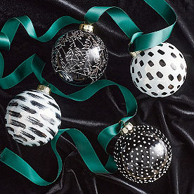 Handpainted Ornaments, Set of Four