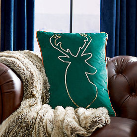 Deer Jewel Tone Christmas Pillow
