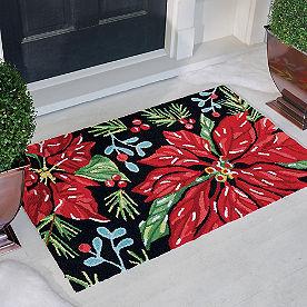 Poinsettia Pine Hooked Door Mat