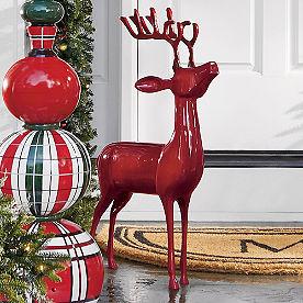 Cast-aluminum Standing Deer