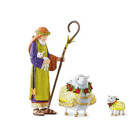Shepherd with Ewe and Lamb Nativity Figures