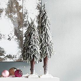 Lifelike Snowy Trees, Set of Two