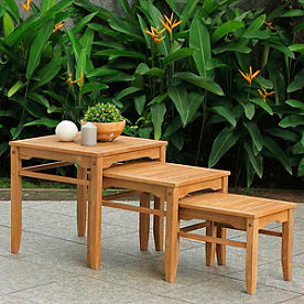 Set of Three All-natural Teak Nesting Tables