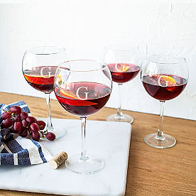 Set of Four Personalized Red Wine Glasses