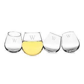 Set of Four Personalized Tipsy Wine Glasses