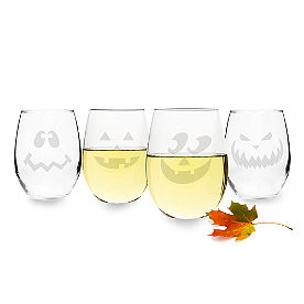 Set of Four Jack O' Lantern Stemless Wine Glasses