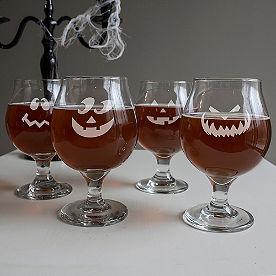 Set of Four Jack-O-Lantern Belgian Glasses