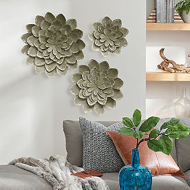 Gray Distressed Flowers Metal Art, Set of Three