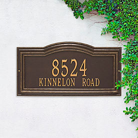 Large Cambridge Two Line Wall Address Plaque