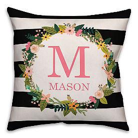 Chatham Wreath Stripe Pillow