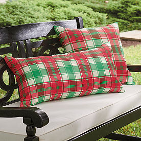 Joyful Red and Green Plaid Pillow