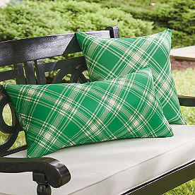 Joyful Green Plaid Pillow