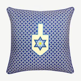 Blue Dreidel Throw Pillow