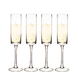 Personalized Gold Dot Flutes, Set of Four