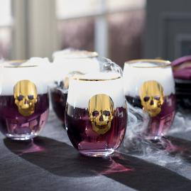 Gold Skull Stemless Wine Glasses, Set of Four