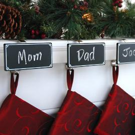 Chalkboard Stocking Holders, Set of Four