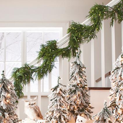 christmas garland ideas cordless soft pine garland grandin road 29966