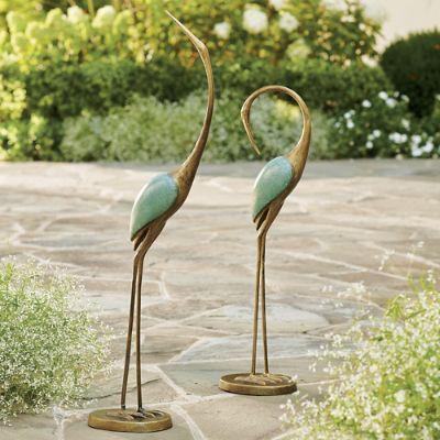 Set of Two Crane Statues Grandin Road