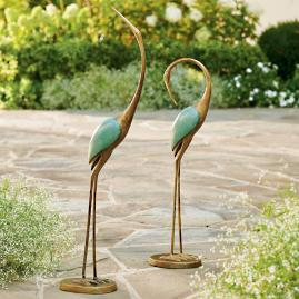 Crane Statues, Set of Two