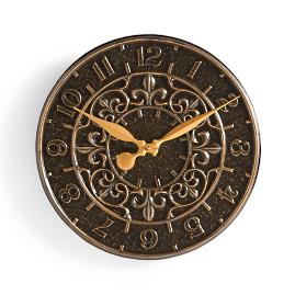 Fleur de lis Wall Clock and Thermometer