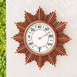 Sunburst Outdoor Wall Thermometer