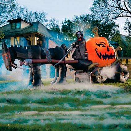 Inflatable Fire And Ice Pumpkin Carriage Grandin Road