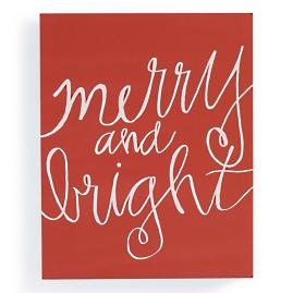"""Merry & Bright"" Christmas Canvas"