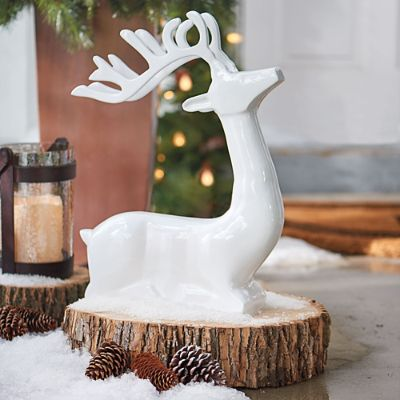 White Cast Aluminum Sitting Deer Grandin Road