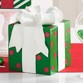 Green Polka Dot Patterned Present