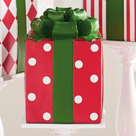 Red Polka Dot Patterned Present