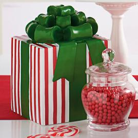 Red/White Stripe Patterned Present