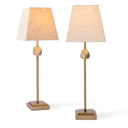 Pentagon Candlestick Lamps, Set Of Two