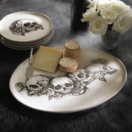 Sketched Skull Platter & Sketched Skull Plates Set of Four | Grandin Road