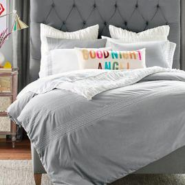 Embroidered Chambray Duvet Cover