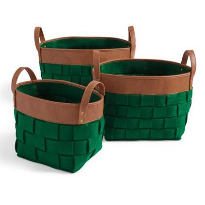 Woven Felt Baskets, Set Of Three