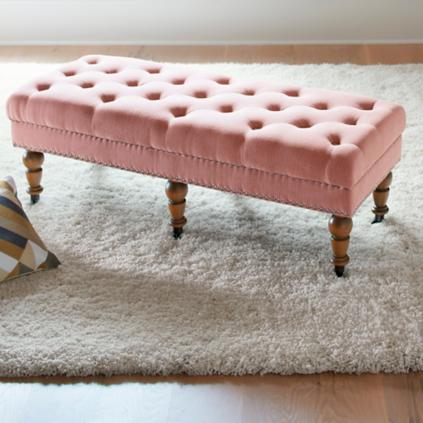 modern decor studio storage home etc upholstered stella bench benches accent pink leather baxton crystal tufted hot
