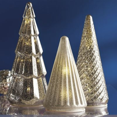 Mercury Glass Led Silver Tree Set Of Three Grandin Road