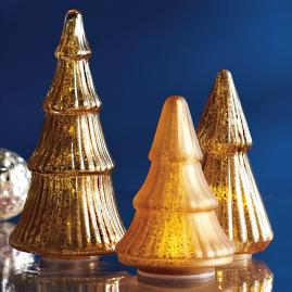 Mercury Glass LED Gold Tree, Set of Three