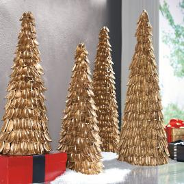 Gold Cotton Pod Trees, Set of Two