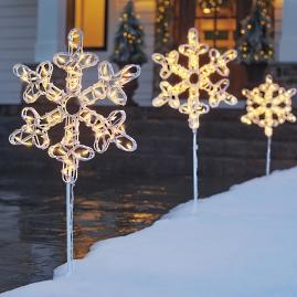 Pre-Lit Snowflake Pathway Marker, Set of Three