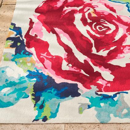 Watercolor Rose Outdoor Rug Grandin Road
