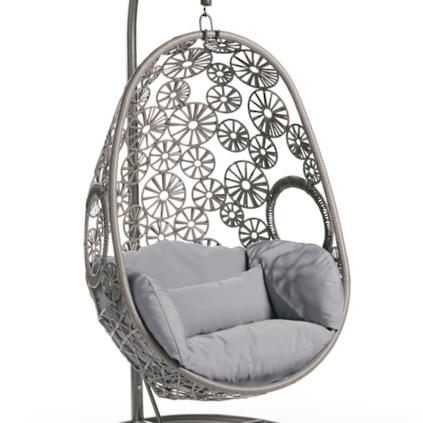 Wellfleet Egg Chair In Floral Grey Frame With Grey Cushion