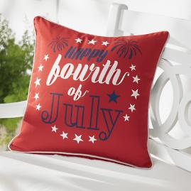 Happy Fourth Red Patriotic Pillow