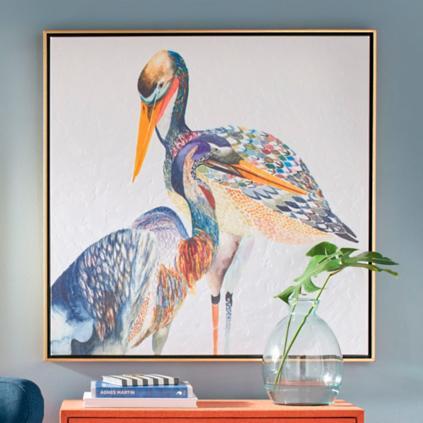 Colorized bird wall art